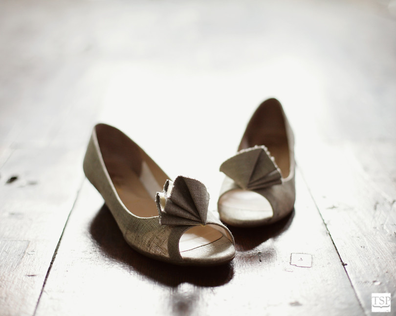 Brides Shoes on Wooden Floor