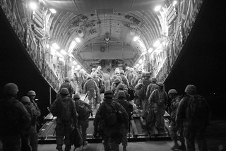 NMCB-17 boards an Air force C-17 aircraft bound for Anbar Province, Iraq