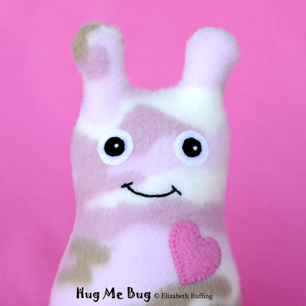 Pink Camouflage Fleece Hug Me Bug, Original Art Toy by Elizabeth Ruffing
