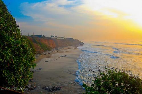 ocean sunrise landscape village ghana accra