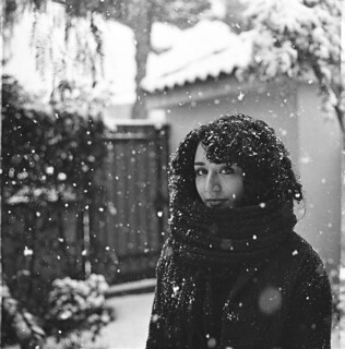 Luisa with snow in Rome