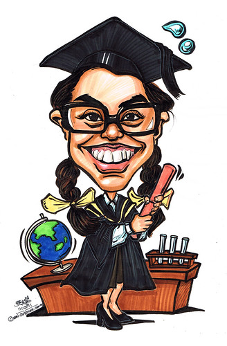 Science graduate caricature
