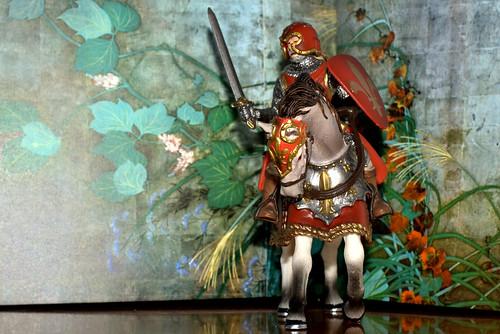 """caballero medieval ante """"viento de otoño"""" de sakai oitsu (c. 1800)"""