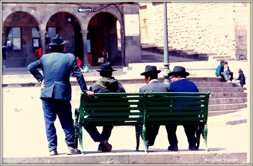 Men with hats at square in Cusco