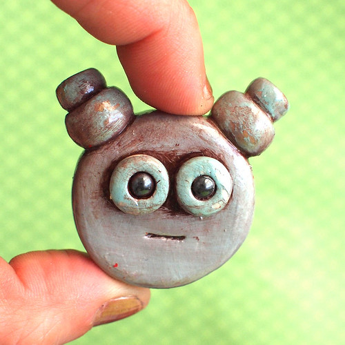 Robot Head Brooch Rustic Blue and Silver by HerArtSheLoves