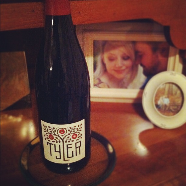 What were drinking tonight :) I liked the label #tylerpinotnoir #valentinesday
