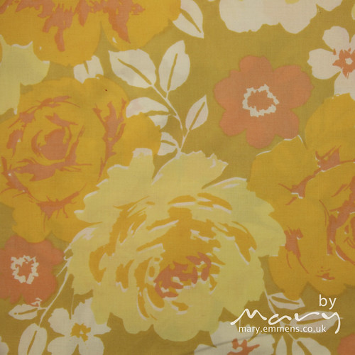 Vintage sheet - orange/yellow floral