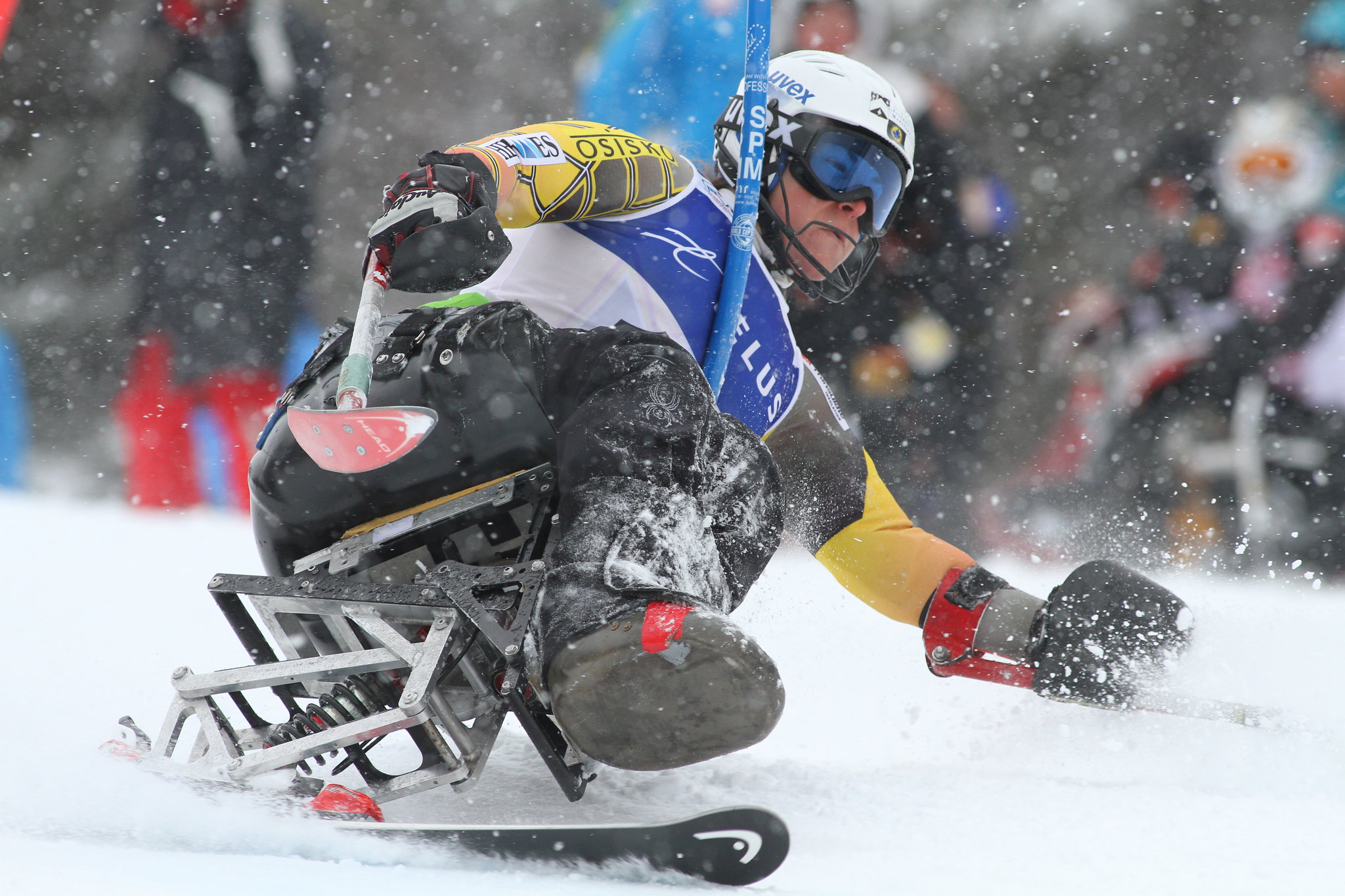Kimberly Joines on her way to a gold medal in the slalom portion of an IPC World Cup super combined in Panorama, B.C.