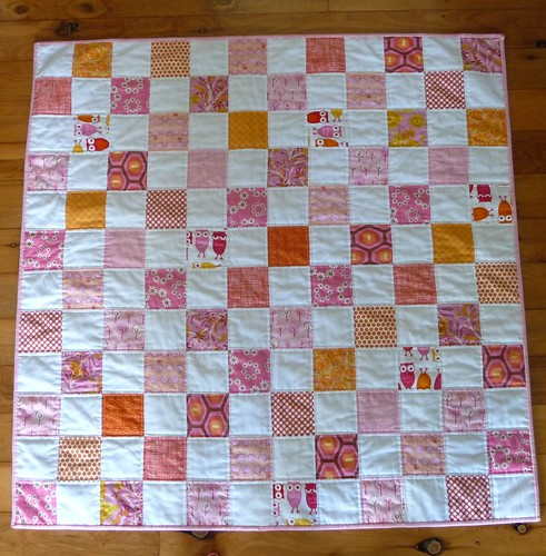 Pink and orange baby quilt