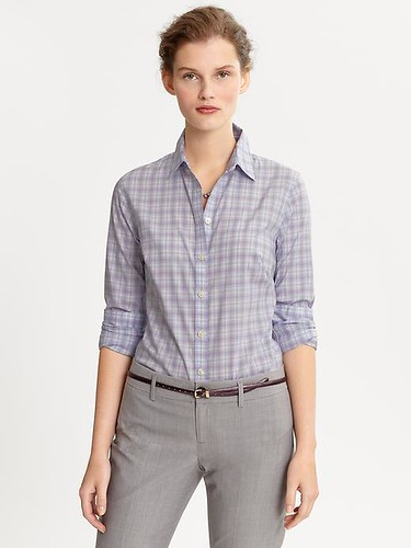Fitted non-iron plaid shirt