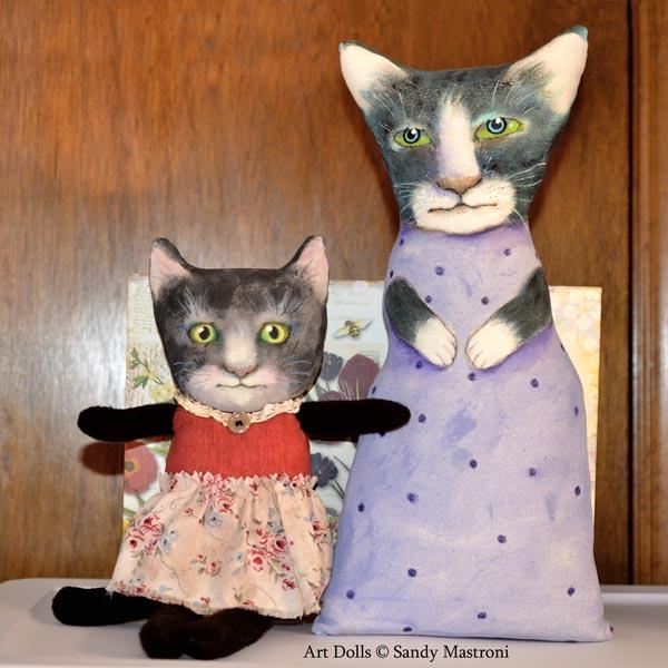 Kitty cat original one-of-a-kind art dolls by Sandy Mastroni