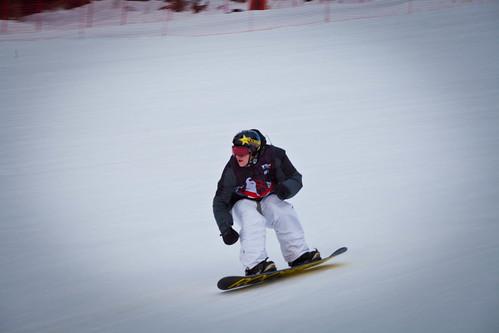 Den nye verdens mesteren i slopestyle, Chas Guldemond setter fart mot det siste hoppet.