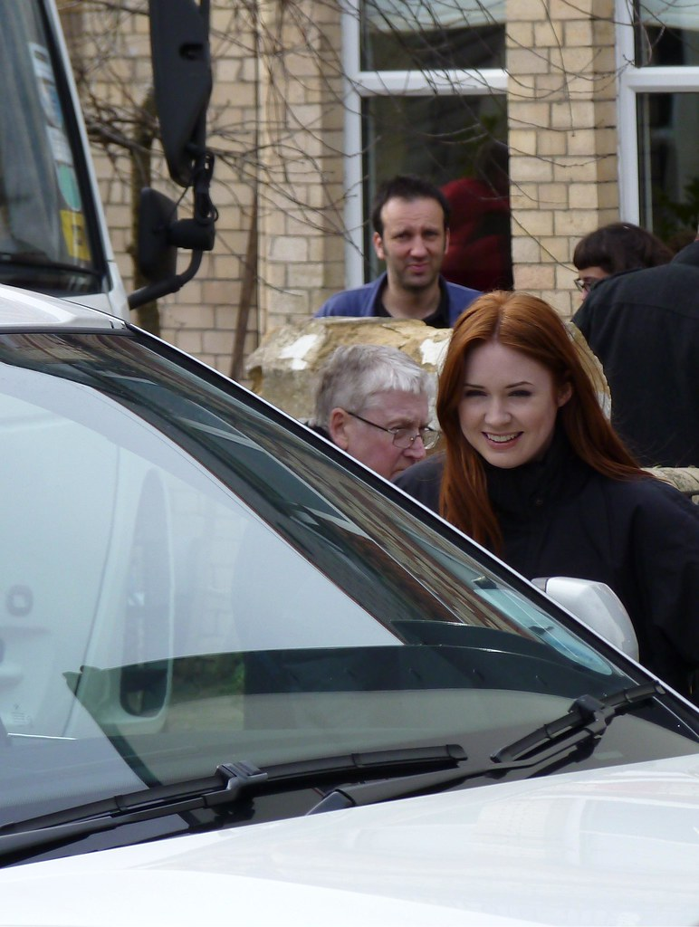 Karen Gillan leaving the house.
