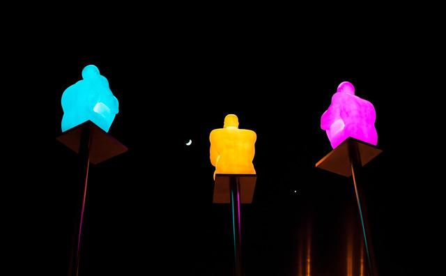 Moon, Venus and Three Luminous Men on Pedestals