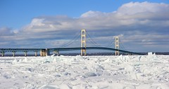 """Jagged Edge""   Winter at Mackinac Bridge  - Mackinaw City, Michigan by Michigan Nut"