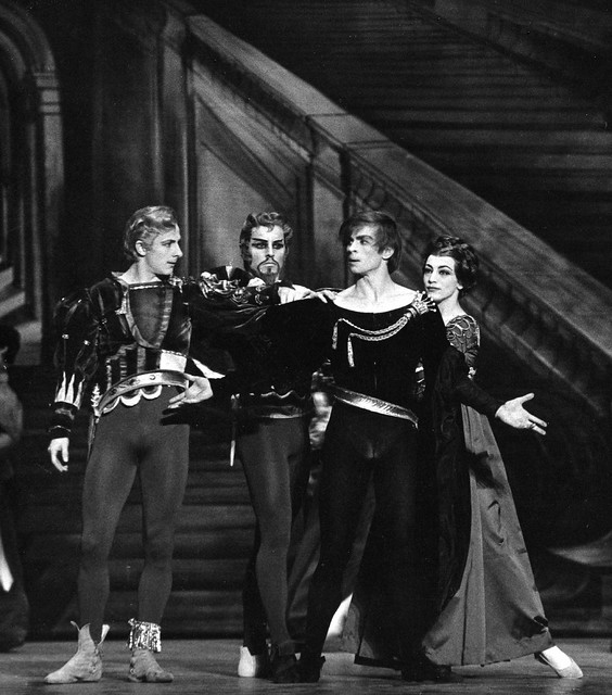 David Drew as Laertes, Derek Rencher as King of Denmark, Rudolf Nureyev as Hamlet and Monica Mason as Queen of Denmark in Hamlet (1964) © Donald Southern/ROH 1964