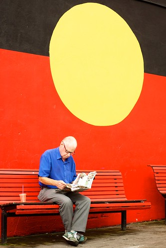 Newtown Candid with aboriginal flag