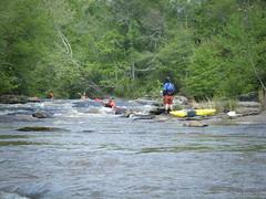 Chris paddling through