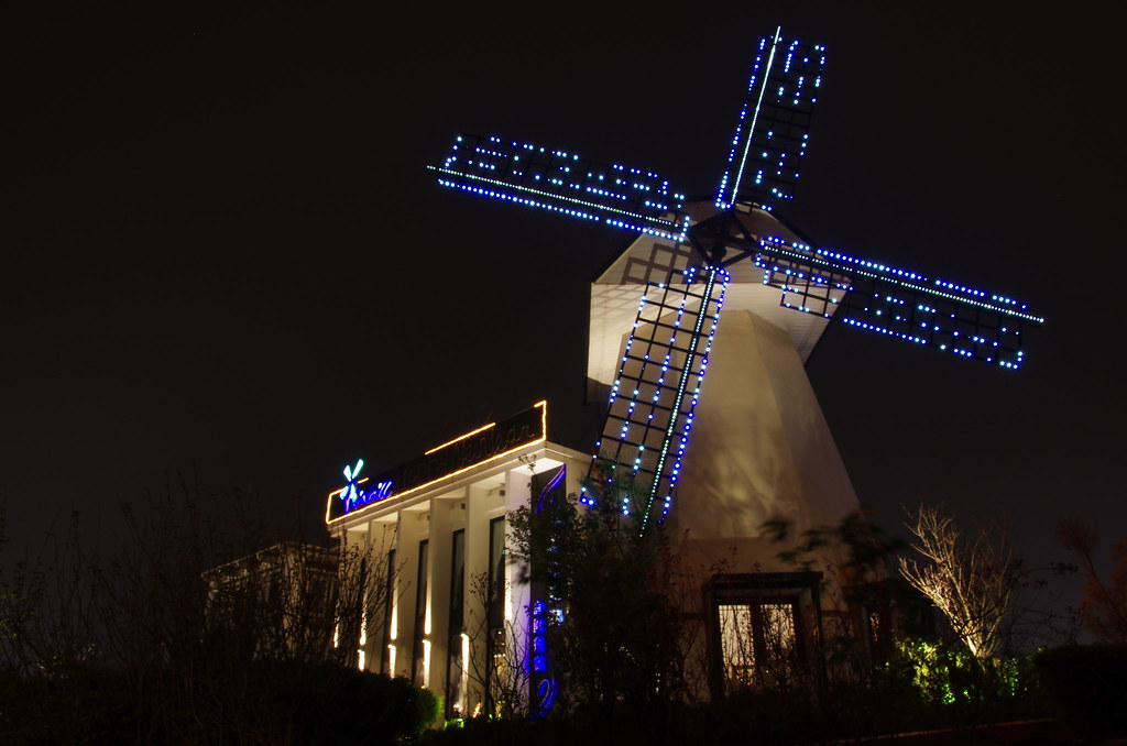 夜拍 城堡與風車