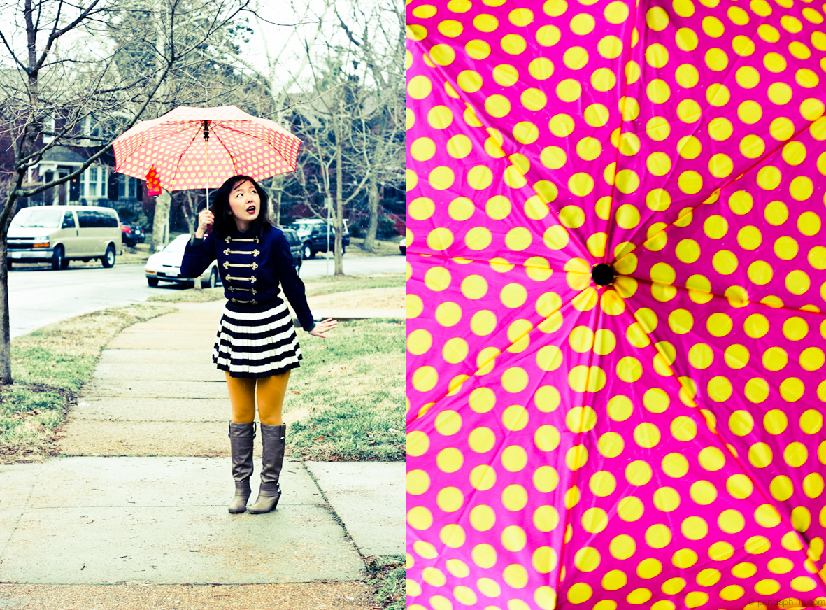 vintage polka dot umbrella