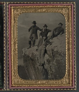 [Private Henry McCollum of Company B, 78th Pennsylvania Infantry Regiment and three unidentified soldiers in 78th Pennsylvania Infantry uniforms at Point Lookout, Tennessee] (LOC)