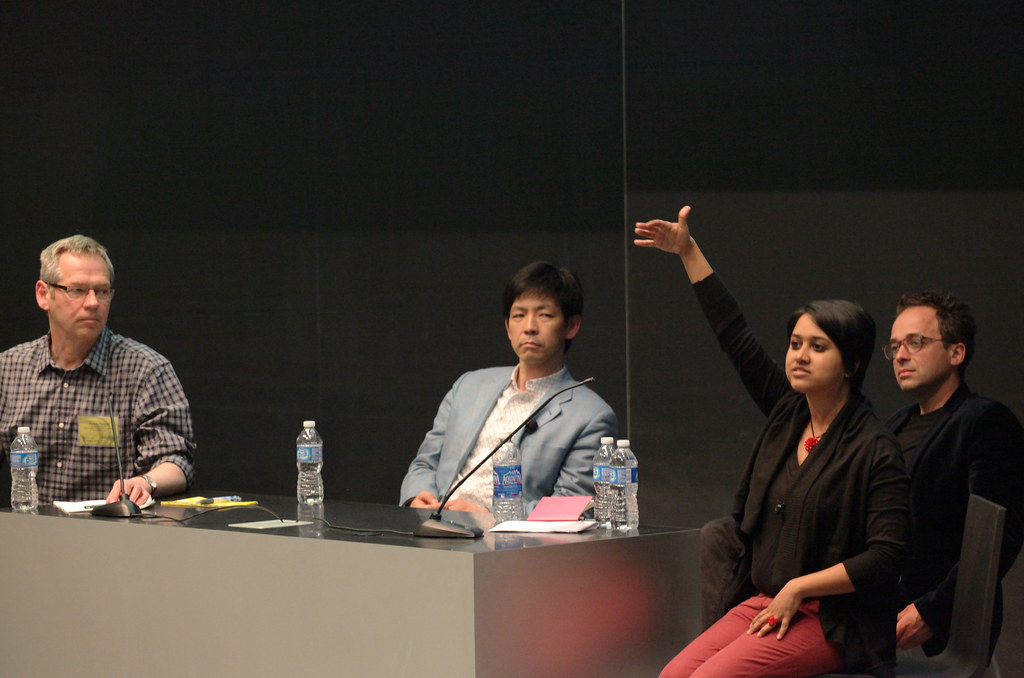 Panel discussion, from left to right: Panel moderator Jeremy Foster, Yoshiharu Tsukamoto, Rupali Gupte, and <Alessandro Petti.