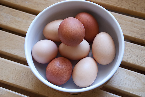 A bowl full of fresh eggs