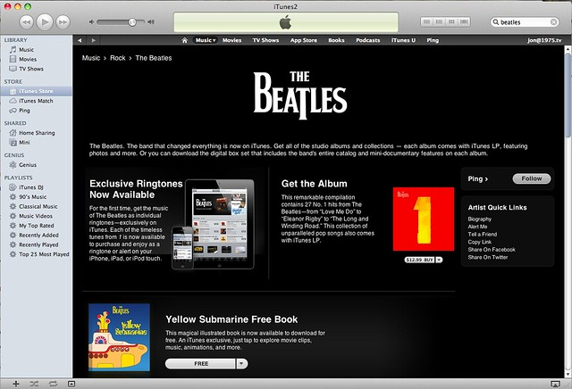 The Beatles iTunes page page in the iTunes Store