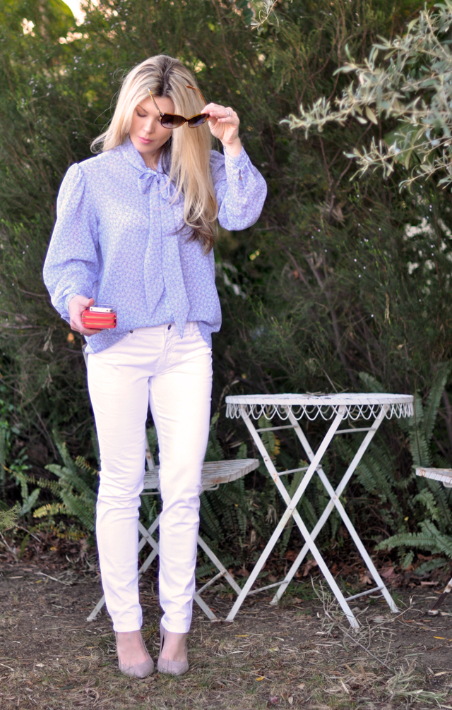 white pants for spring - bow blouse