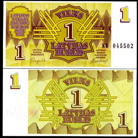 1 Rubel Lotyšsko 1992, Pick 32