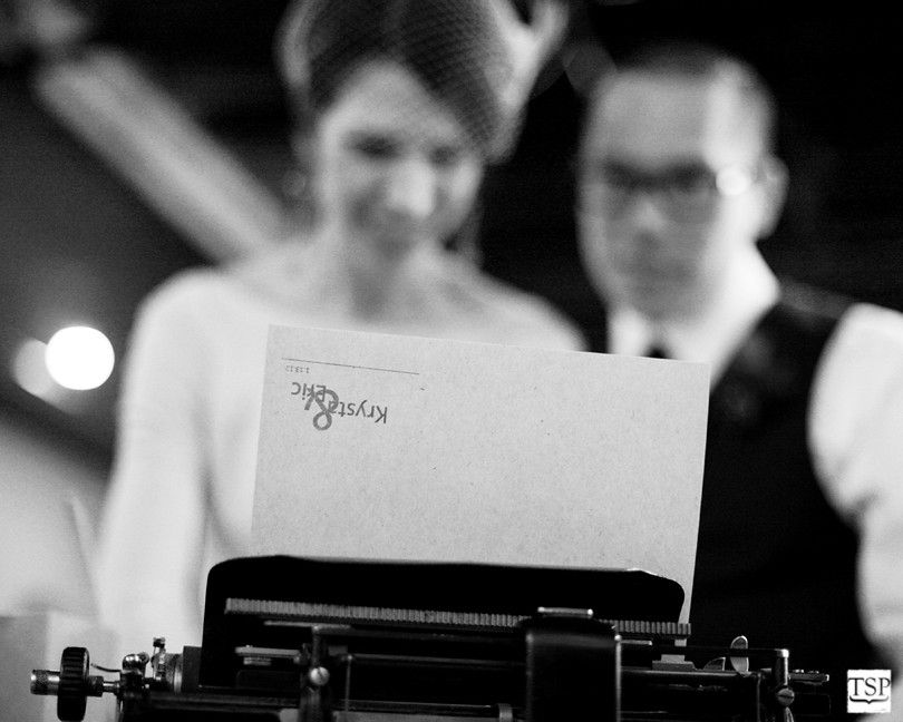 Bride and Groom with Typewriter and Letterhead