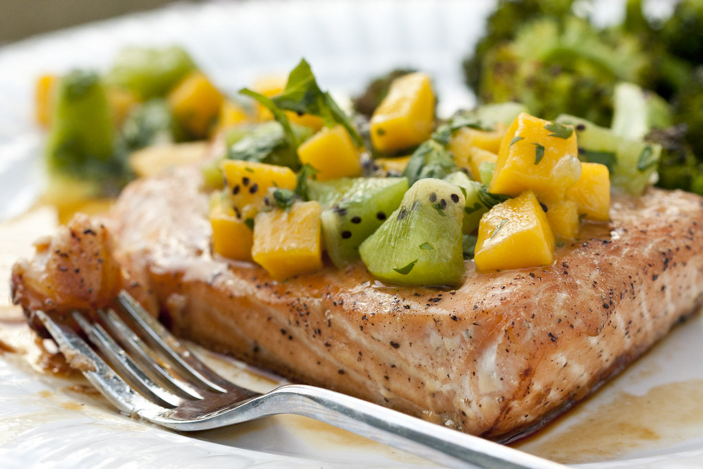 Red Lab No. 27: Salmon with Mango Kiwi Salsa