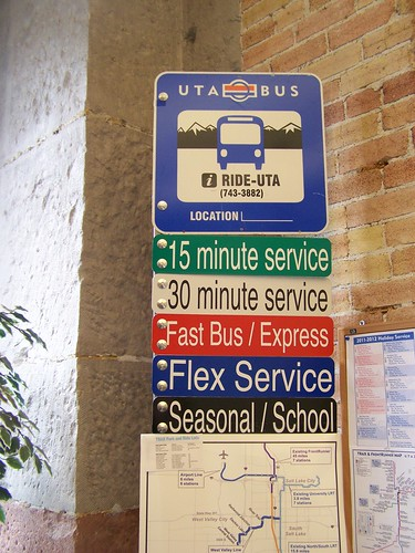 Utah Transit Authority bus stop signage coding