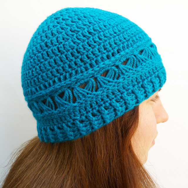 Broomstick lace crochet beanie hat