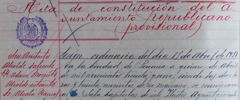 Constitución del Ayuntamiento republicano de Porcuna un 15 de abril de 1931