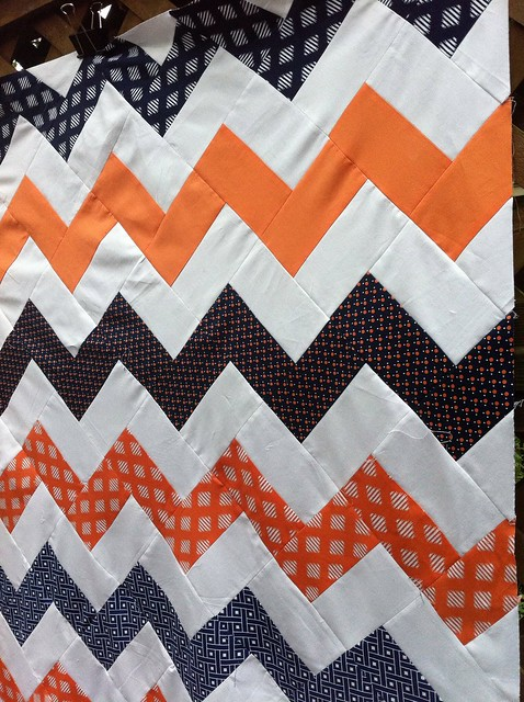 Orange & Navy chevrons close