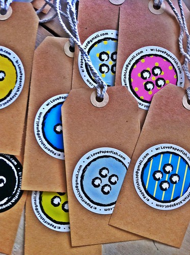 Awesome new branding... Button stickers!! by kirstyfish