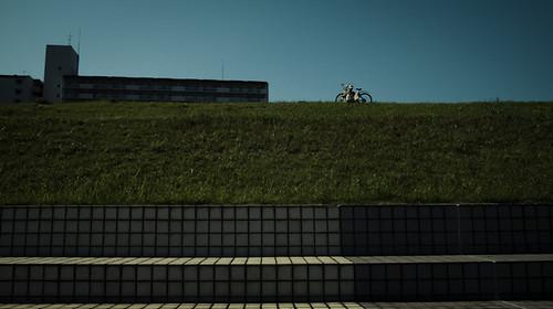 Man, Bicycle and the Edogawa River