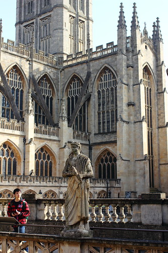 Roman statue and abbey