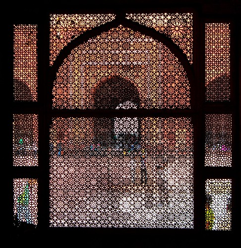 Looking out of the Tomb of Salim Chishti in Jama Masjid courtyard, Fatehpur Sikri