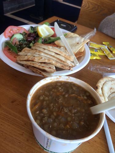 Lentil soup and pita