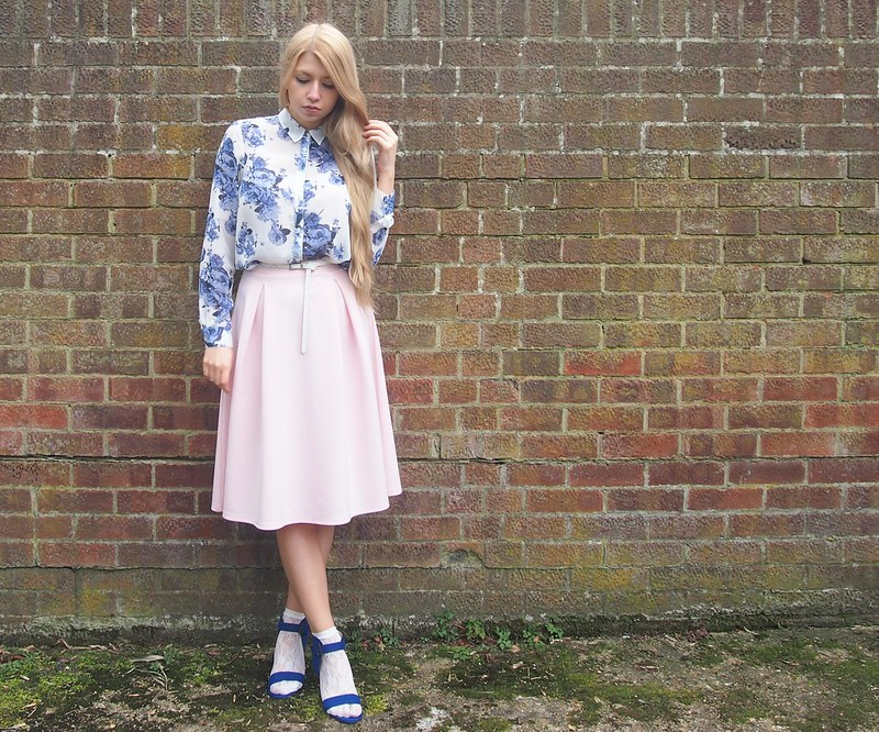 Dorothy Perkins, Pastel Pink Midi Skirt, George, ASDA, Blue, Cobalt, Floral Skirt, Sandals, Ankle Socks, How to Wear, Styling Inspiration, Outfit Ideas, Sam Muses, AW14, UK Style Blogger, London Fashion Blog