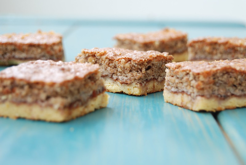 Fruit Cake Squares On Pastry Crust