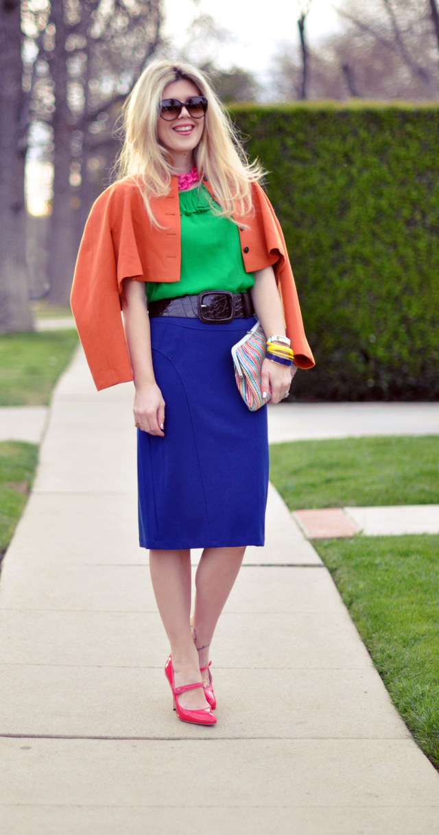technicolor outfit - pink- blue-orange-green outfit