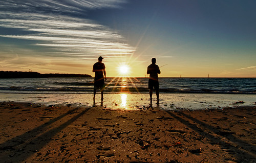 sunset sea beach fishing adelaide glenelgbeach