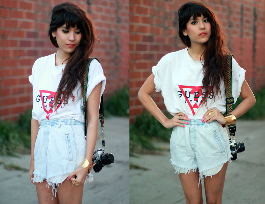 Vintage destroyed denim runner shorts