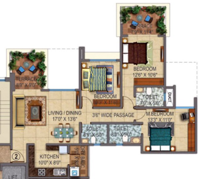 Amit Colori Undri 3 BHK Flat Odd Floors 938 sq.ft. Carpet + Terrace