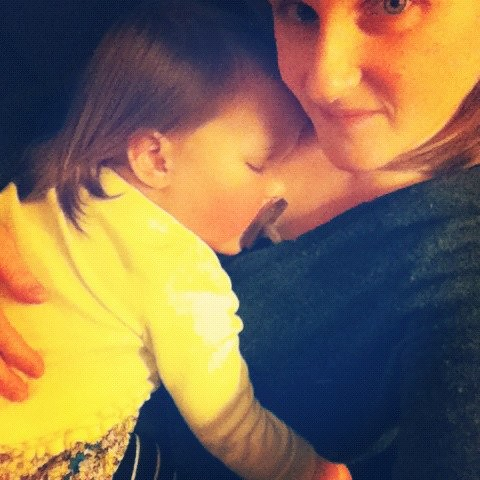 sound asleep before dinner, in her clothes, on me.