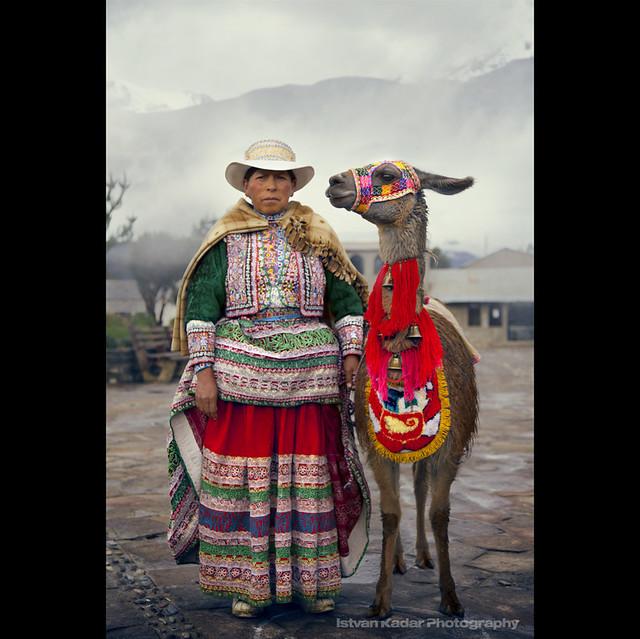Native Woman with Llama