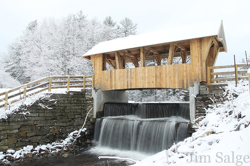 Surprise Snowfall at Chester's New Covered Bridge